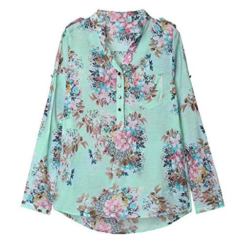 ZANZEA Femme Floral Col V Top T-Shirt Blouse Chemisier Loisir Fleur Imprimé Haut Floral Floral 1
