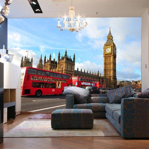 er Bus Big Ben-Tapeten-Tapetenfernsehwand-Große Wandmalerei 3D Tapete Hintergrundbild Fresko Wandmalerei Wallpaper Mural 400cmX300cm ()
