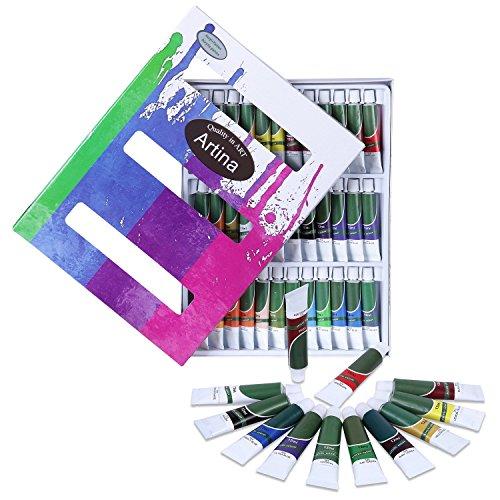 Artina set da 36 colori acrilici crylic da 12ml - colori intensi alta pigmentazione - per artisti accademia belle arti