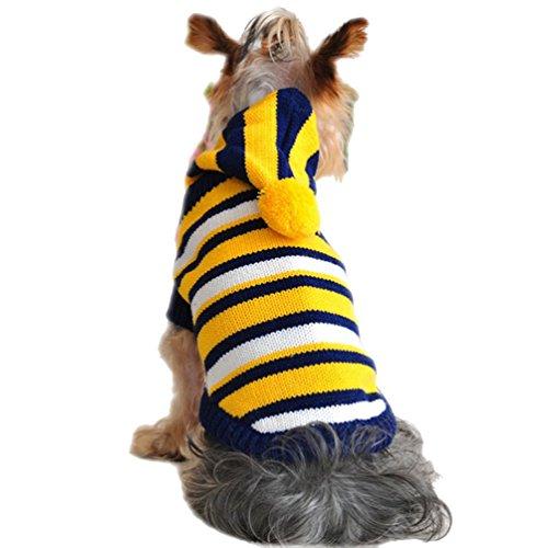YiJee Haustier Hunde Kleidung Winter Gestrickte Pullover Welpen Warm Hoodie Sweatshirts Gelb XXS