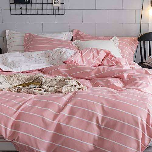 Luofanfei Muster Bettwäsche 200x200 Gestreift 3 Teilig Bettbezug Streifen Geometrisch Rosa Pink Microfaser mit Reißverschluss Exztra Weich (Rosa Bettbezug)