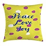 bkblkfde Joy Throw Pillow Cushion Cover, Doted Pattern with Peace Love Joy Hand Drawn Calligraphy Modern, Decorative Square Accent Pillow Case, 18 X 18 inches, Yellow Green Violet Cobalt Blue