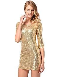 234eb93d4f2 antaina Gold Glitter Pailletten Halb Ärmel Abschlussball Nacht Bodycon Sexy  Minikleid