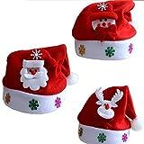 Evinis Sombreros de Navidad Rojo y Blanco de 3 Piezas de Santa Claus Muñeco de Nieve Ciervos Sombreros para niños, Sombreros de Navidad no Tejidos para Celebraciones y recreación