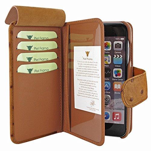 "Piel Frama ""walletmagnum"" Leder Cover Fall für Apple iPhone 7–blue-parent Ostrich Tan"