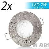 2er Set AQUA IP44 230V LED SMD 7W (560lm) Kaltweiß Decken Einbaustrahler Einbauspots Deckenspots f. Badezimmer Feuchtraum Außenbereich (Matt-Chrom) inkl. GU10 Fassung mit 15cm Anschlusskabel [Einbautiefe: 10cm]