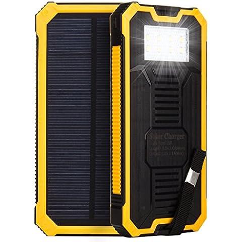 HanLuckyStars 15000mAh Cargador Solar Batería Externa PowerBank Con Linterna LED Brillate,2 Puerto USB, Mosquetón Gancho ,Cable USB,para smartphone android window tablet