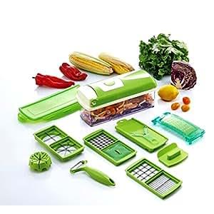 HQdeal Dicer multi Chopper légumes coupe Dicing tranchage Cuisine Gadget Peeler 11 different façons de réduire vert