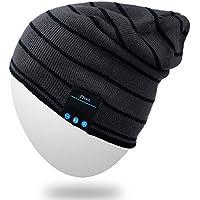 Rotibox-altoparlanti stereo Bluetooth Bonnet esterna calotta del casco e delle mani mic risposta telefonata libero, cappello auricolare Bluetooth confortevole per le escursioni sci snowboard corsa, regali di Natale-Grigio
