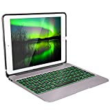 iPad Pro 9.7 Caso con Tastiera,iEGrow F06 iPad Air 2 Tastiera 7 Colori Retroilluminati Tastiera in Alluminio Sottile Bluetooth con Copertura Protettiva in Copertina Layout Italiano (Grigio)