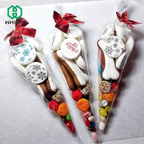 k DIY Kegel Form Transparent Geschenktüten Popcorn Blume Verpackung Beutel für Halloween Weihnachten Geburtstag Hochzeit Party ()