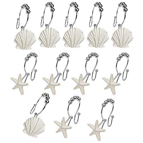(12Duschvorhang Haken Ocean Beach Design SEASHELL Seestern Roller Bälle Dusche Vorhang Haken Creative Kunstharz Wanne Vorhang Haken Ringe Stahl geschwungene Glide Duschvorhang Rod Haken BADEWANNE Decor)