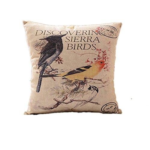 homiki Deko Kissenbezug mit schmalem bedruckt lebende Vögel für Sofa Bett Kissen Geschenk kreative Figur amimales Persönlichkeit Tatsache, klassischer Leinen Schwarz