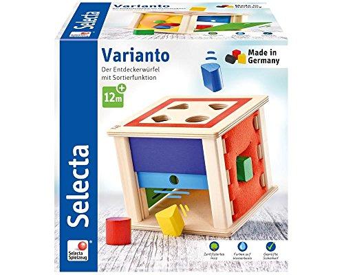 Selecta 62019 Varianto, Sortier-und Steckspiel aus Holz, 15 cm, bunt