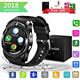 Bluetooth Smartwatch, Wasserdicht Smart Watch Rund mit SIM Kartenslot Whatsapp Touchscreen, Intelligente Armbanduhr Sport Fitness Tracker Armband fur Android iphone ios Samsung Sony Huawei Damen Herren (Schwarz - V8)
