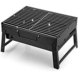 Mbuynow Holzkohlegrill tragbarer Klappgrill Picknickgrill für Garten Camping Party BBQ(L 34cm x W 30cm x H 20cm)