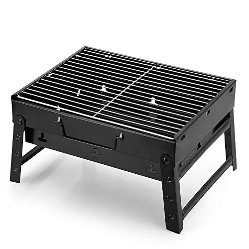 Barbecue carbone portatile pieghevole per 3-5 persone, uten griglia barbecue carbonella da tavolo per campeggio picnic giardino feste (nero)
