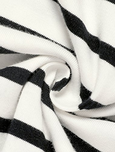 Allegra K Femme Classique à Rayures Manches Longues Extensible T-Shirt Noir