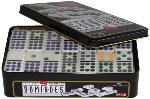 weiblespiele 250102 - Domino Doppel 9 in Metalldose Punkte 9
