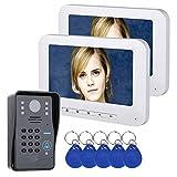 XC 7-Zoll-LCD-RFID-Kennwort-Videotelefon-Gegensprechanlage, IR-CUTCamera 1000TVL Infrarot-Nachtsichtkamera mit wetterfester Abdeckung