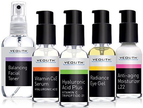 Best Anti alternde Haut Care System, yeouth 5Pack–Balancing Toner für Gesicht–Vitamin C Serum–Hyaluronsäure...