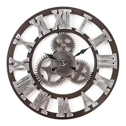 Fgy Horloge Murale Geante Silencieuse Pendule Murales Originale En Bois Industriel Decoration Maison Argente 58cm