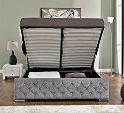 Unmatchable Ottoman Storage Diamond Design Upholstered Bed Frame in Velvet or Chenille available in Double or King Size (Super King, Silver Chenille)