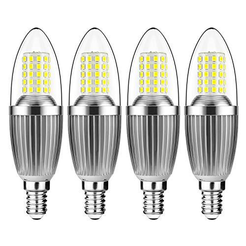 Gezee LED Kerzen Glühbirne E14 Sockel 12W Ersetzt 100W Glühbirnen Nicht dimmbar 6000K Kaltweiß 1200lm Kleine Edison-Schraube Kerze Leuchtmittel (4er-Pack)