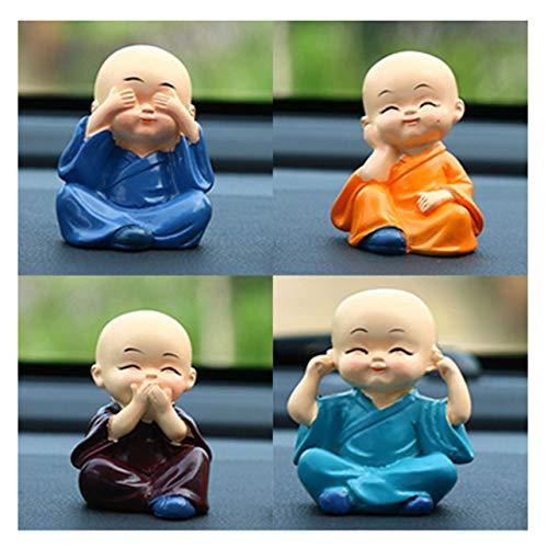 WOSOSYEYO 4pcs Nette Kungfu Monk Auto-Innen Anzeige Dekoration Auto-Sitz Ornament Car Home Decor Resin Kid Puppe Souvenirs