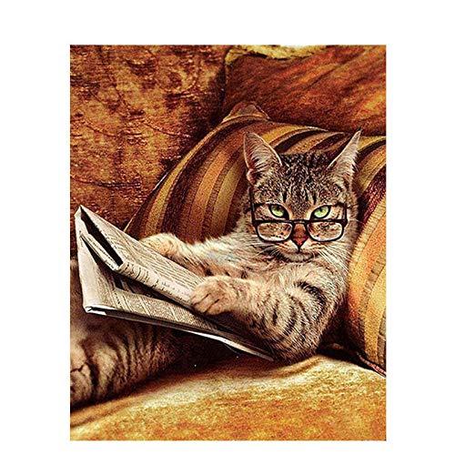 renzhen Malen nach Zahlen Acrylfarbe auf Leinwand Handgemaltes Ölgemälde für Wohnkultur Kunst Katze mit Brille@ 40CMx50CM_DIY_Frame