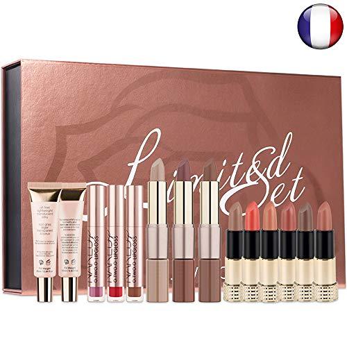 Coffret Maquillage Professionnel : Rouge à lèvres, Illuminateur de teint, Gloss Mat, Base de teint. Spécial cadeau de Noel