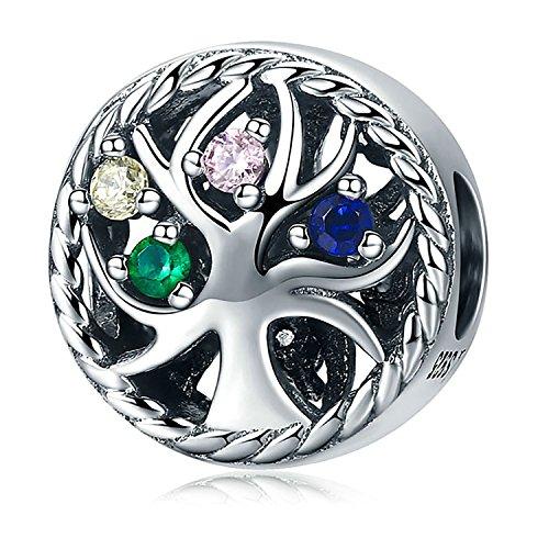 925Sterling Silber Baum des Lebens CZ Kristall Spacer Perlen Charm für Armbänder Schmuck Geschenke für Frauen Mädchen