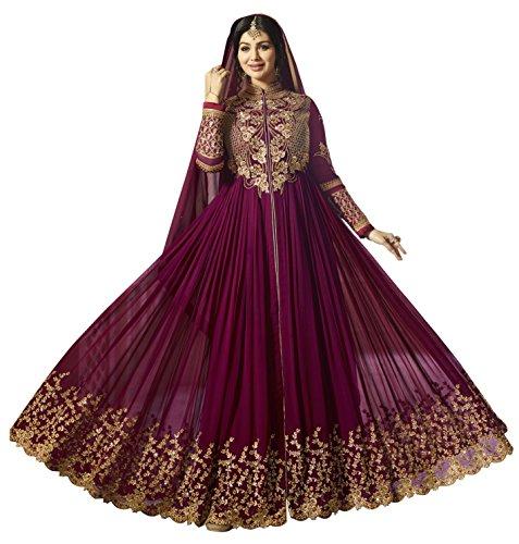 Vastrang Sarees Women's Faux Georgette Gown (Purple_Free Size)