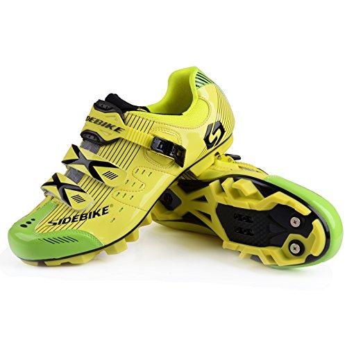 WIN Herren Atmungsaktive Freizeit Carbon Fahrrad Schuhe mit Nylon-Sohle oder Tpu-Sohle für Road und MTB. - Yellow for MTB