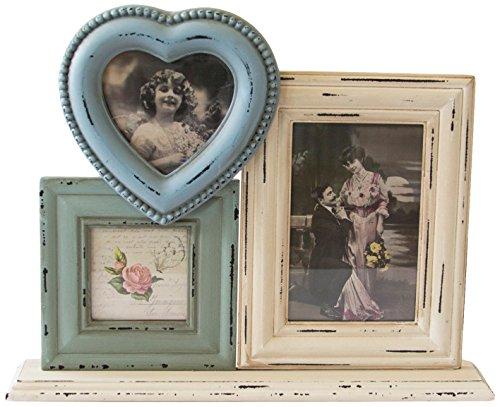 Sass y Belle madera/cristal Delilah marco de fotos Triple de pie en forma de corazón, Multi-color
