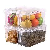 Organizador de alimentos HapiLeap para cocina/congelador, contenedor transparente con tapa y asa 4 Pcs
