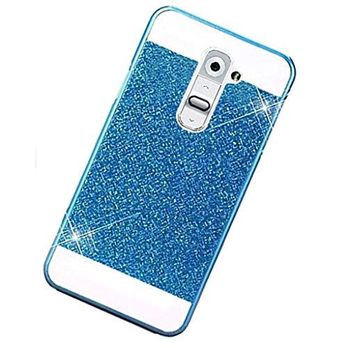 TKSHOP Accessiri per LG G2 Custodia Case Cover plastica Hard dura PC lusso bling bling conchiglia protegge smartphone Antigraffio Shock-Absorption - Blu