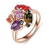 AnaZoz Schmuck Blume Geformt Damen Ringe 18K Rose Gold Überzog Schweizer Zircon Ring