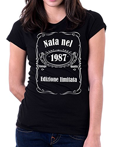 Tshirt compleanno Nata nel 1987 - edizione limitata - vintage quality - idea regalo - eventi - - Tutte le taglie Nero