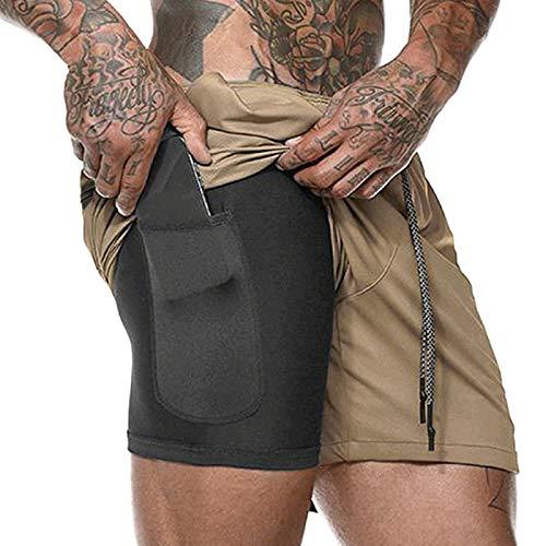 Pantaloncini da Atletica Leggera per Uomo Pantaloncini Sportivi da Running da Uomo 2 1 Rapida Asciugatura Traspirante con Fodera Tascabile incorporata