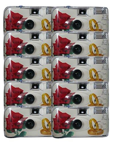 10x allMedia Rose/Ringe Hochzeitskamera/Einwegkamera/Partykamera mit Blitz