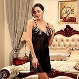 XBR pigiama, estate - femmina v collare, pigiami, ricamati pizzi, vestito di seta, vestito di seta.,black,m