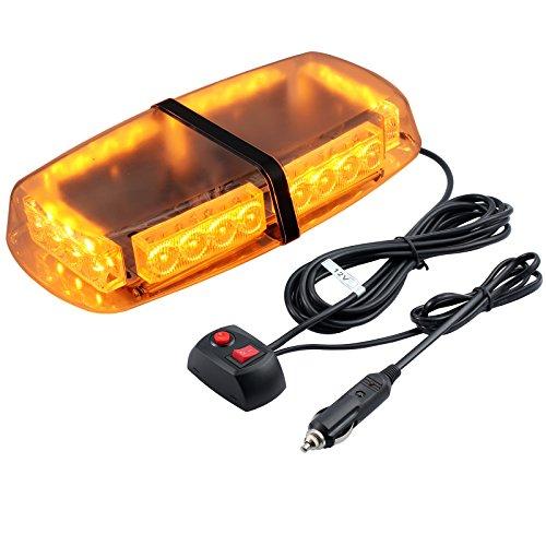 kamtop LED emergencia advertencia luz 12V ámbar LED 24W impermeable vehículo techo luz de flash con 5m Cable encendedor 7-flashing modos ámbar coche luz para coche camión SUV