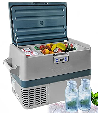 Kühlbox |Kompressor Tiefkühlbox | Thermoelektrische | Kühltasche | Gefrier- Box | Mini Kühlschrank | Isoliertasche | Volumen 40Liter | 12 / 24 Volt Anschluss für Zigarettenanzünder für Auto/ LKW / Boot nutzbar | Kühlung bis -15°C | Tragegriff | Stehhöhe für 2-Liter-Flaschen