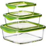 Luminarc Temp Keep 'N' Square Glass Box Set, 3-Pieces, Green