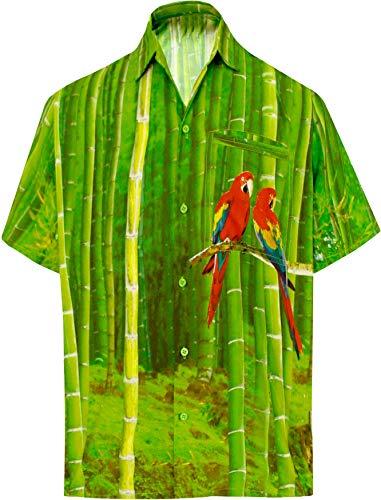 LA LEELA männer Hawaiihemd Kurzarm Button Down Kragen Fronttasche Beach Strand Hemd Manner Urlaub Casual Herren Aloha Grün_206 2XL Likre DRT155 - Button-down-vintage-shorts