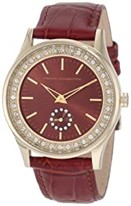 French Connection Ladies Brown Strap Watch With Brown Dial And Stone Set Bezel CD87.14FCX