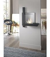 caminetto da muro in metallo verniciato nero e acciaio satinato. Vetro temperato. Bruciatore da 1,5 litri e strumento di controllo della fiamma. Dimensioni: 72 × 22 × 63 cm L.P.H.