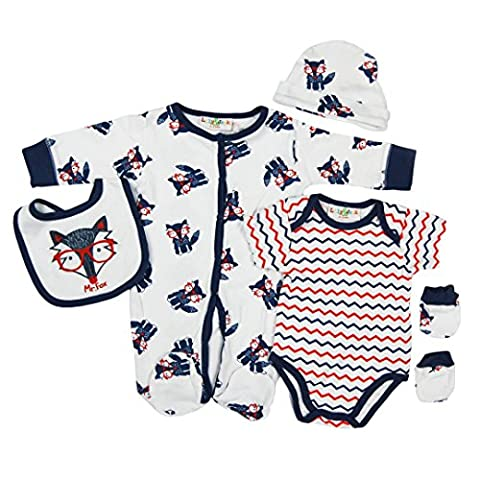 5 piece Layette Set Clothes Packs for Baby Boys Girls Infants Unisex Newborn Outfits Christening Christmas Birthday Gifts Sets Auntie Grandma 100% cotton 0 0-3 3-6 months White Navy Orange