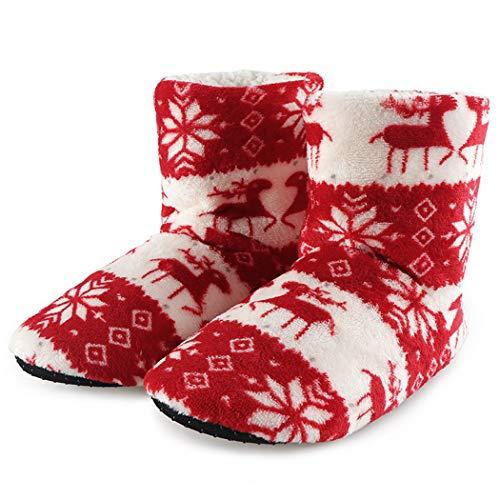 Winter Hausschuhe Frauen Plüsch Baumwolle Hause warme Stiefel Weihnachten Elch Indoor Socken Damen Boden Schuhe -